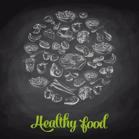 comida: Entregue a ilustra��o do vetor tirada com alimentos saud�veis. Esbo�o. Quadro-negro.