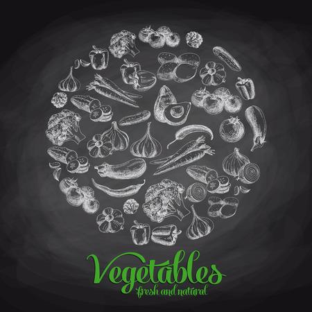 Hand drawn vector illustration with vegetables. Sketch. Chalkboard