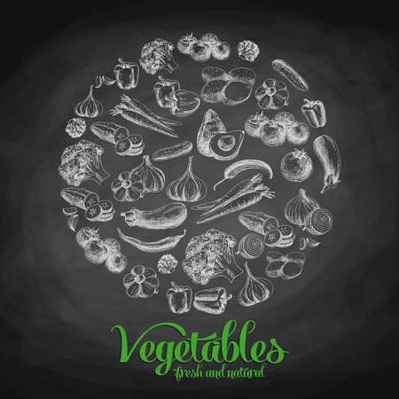 Hand getekende vector illustratie met groenten. Schetsen. Krijtbord Stock Illustratie