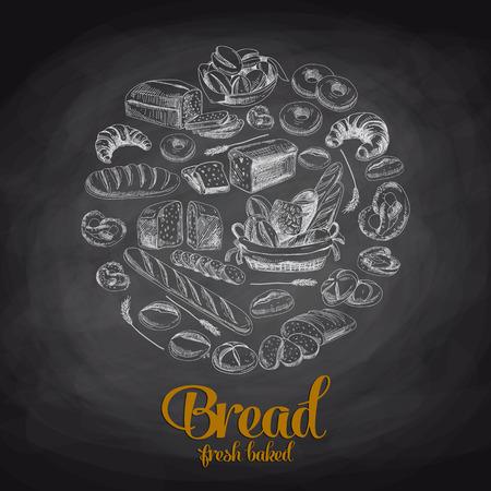 panadero: Dibujado a mano ilustración vectorial con pan. Sketch. Pizarra