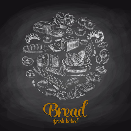baker: Hand drawn vector illustration with bread. Sketch. Chalkboard