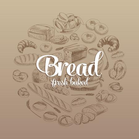 手には、パンとベクトル図が描かれました。スケッチ。  イラスト・ベクター素材