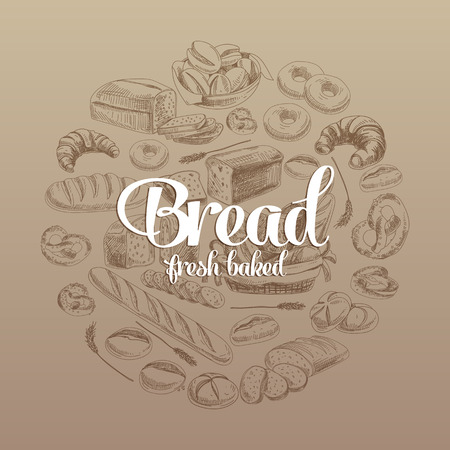 Hand drawn vector illustration with bread. Sketch.