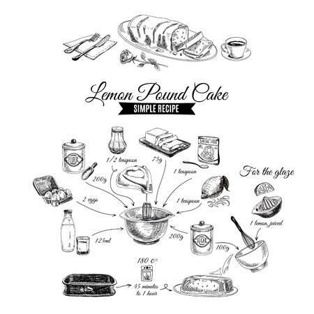 ベクトルの手には、レモンのケーキのイラストが描かれました。スケッチ。シンプルなレモンのケーキのレシピ。