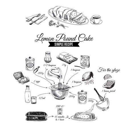 Vector hand drawn lemon cake illustration. Sketch. Simple lemon cake recipe. Vectores