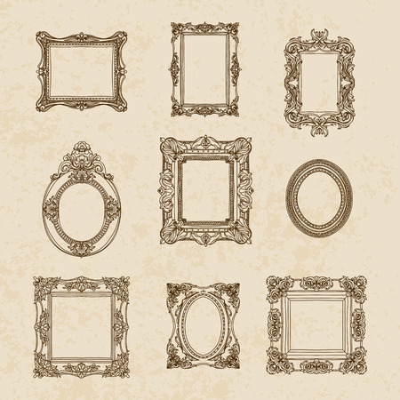 Vector vintage hand drawn set with picture frames. Retro illustration.