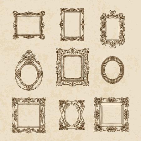 ornate frame: Vector vintage hand drawn set with picture frames. Retro illustration.