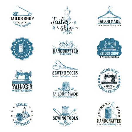 Vector set of vintage tailor labels, badges and hand drawn design elements. Stock Illustratie