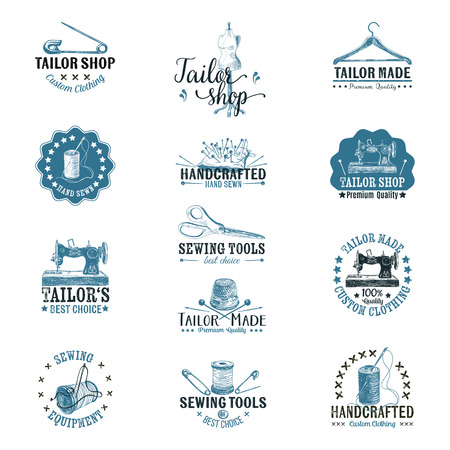 Vector set of vintage tailor labels, badges and hand drawn design elements. Иллюстрация