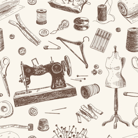 knitting: Vector seamless pattern with hand drawn sewing and knitting tools. Vintage illustration.