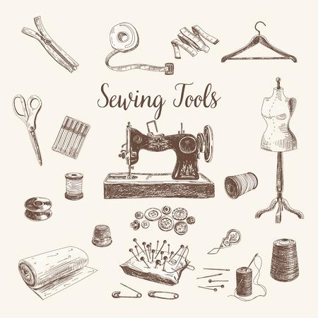 maquinas de coser: Vector conjunto de coser y tricotar herramientas altamente detalladas dibujados a mano. Firma la colecci�n vintage.