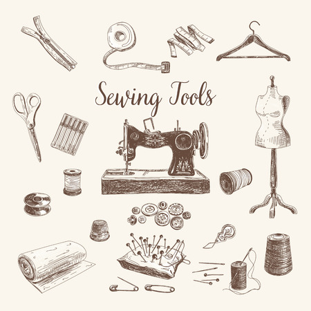 sewing pattern: Vector set of highly detailed hand drawn sewing and knitting tools. Vintage signs collection.