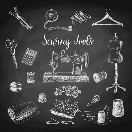 sewing: Vector set of highly detailed hand drawn sewing and knitting tools. Vintage signs collection.