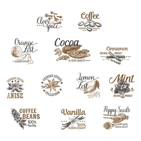 postres: Vector conjunto de logotipos Postre Especias, etiquetas, escudos y elementos de diseño. Ilustraciones Retro.Vintage.