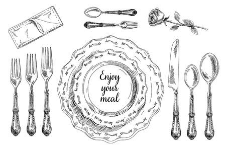 cubiertos de plata: Vector dibujado a mano ilustración con juego de ajuste de la tabla. Bosquejo. Ilustración de la vendimia.