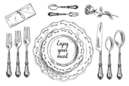 settings: Vector hand drawn illustration with Table setting set. Sketch. Vintage illustration.