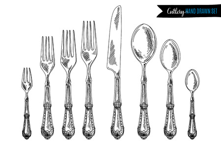 Vector hand drawn illustration with cutlery set. Sketch. Vintage illustration.