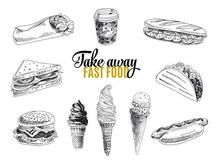 comida: Jogo do vetor de fast food. Ilustração do vetor no estilo do esboço. Desenho elementos de design.