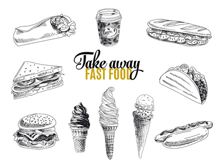 the hands: Vector set of fast food. Vector illustration in sketch style. Hand drawn design elements. Illustration