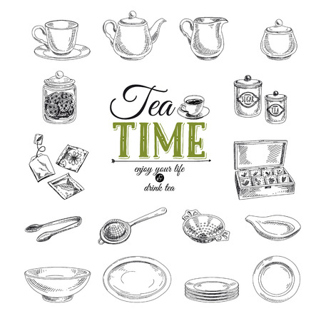 green tea leaf: Vector hand drawn illustration with tea set. Sketch. Illustration