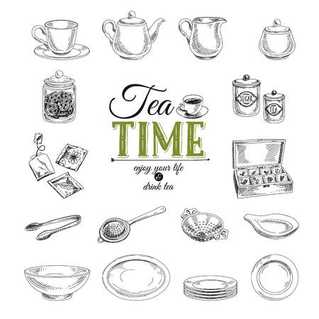 tazza di te: Vector Hand Drawn illustrazione con set di tè. Schizzo.