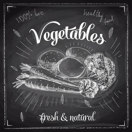 fruit and vegetable: Hand drawn vector illustration with vegetables. Sketch. Chalkboard. Illustration