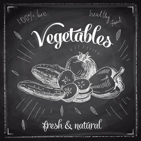 garlic: Hand drawn vector illustration with vegetables. Sketch. Chalkboard. Illustration