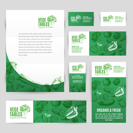 Hand drawn vector corporate template set with vegetables. Vintage. Sketch. Vettoriali