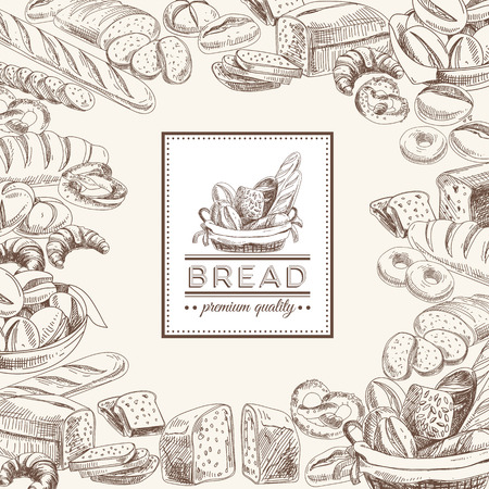 tranches de pain: Vector boulangerie rétro fond. Illustration vintage avec du pain. Esquisser.