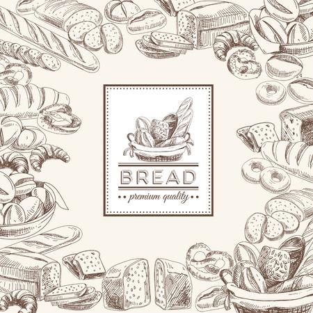 comiendo pan: Vector panadería fondo retro. Ilustración de la vendimia con pan. Bosquejo. Vectores