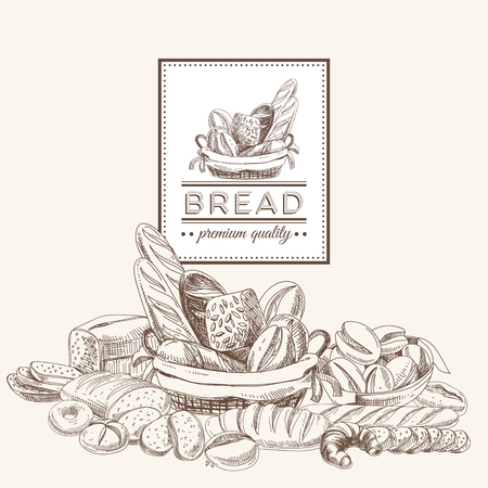 Vector bakery retro background. Vintage Illustration with bread. Sketch. Çizim