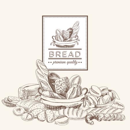 Vector panadería fondo retro. Ilustración de la vendimia con pan. Bosquejo.