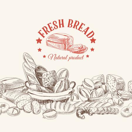 produits céréaliers: Vector boulangerie rétro fond. Illustration vintage avec du pain. Esquisser.