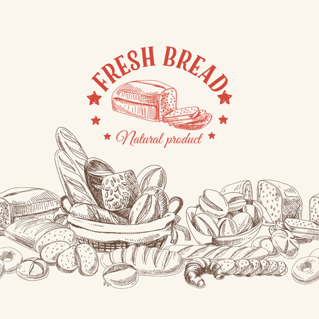 Vector bakery retro background. Vintage Illustration with bread. Sketch. Vettoriali