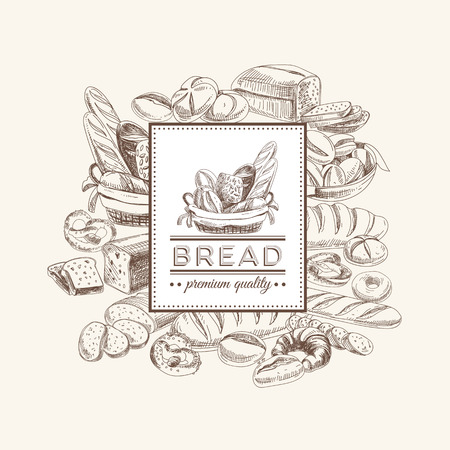 Vector bakery retro background. Vintage Illustration with bread. Sketch. Vectores