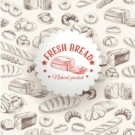ベクトル ベーカリー レトロな背景。パンとヴィンテージのイラスト。スケッチ。