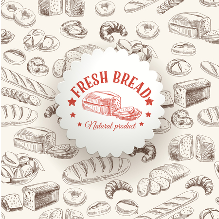 Vector bakery retro background. Vintage Illustration with bread. Sketch. Фото со стока - 49424374