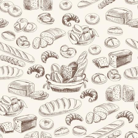 bocadillo: panadería vector retro patrón seamlrss. Ilustración de la vendimia. Bosquejo Vectores