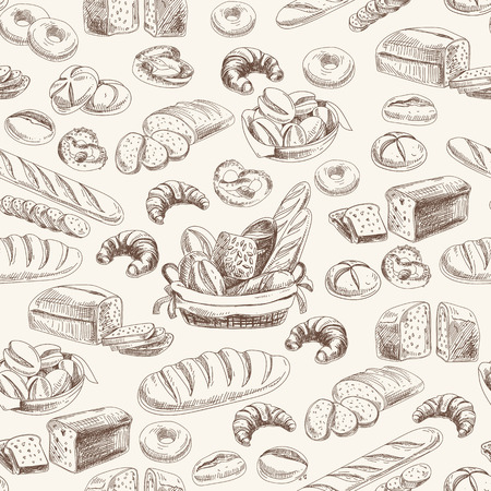 croissant: Vector bakery retro seamlrss pattern. Vintage Illustration. Sketch