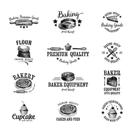 ベーカリー アイコン、ラベル、バッジおよびデザイン要素のベクトルを設定します。Retro.Vintage。