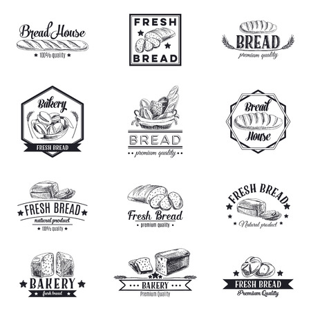 bread: Vector set of bakery and bread icon, labels, badges and design elements. Retro. Vintage.