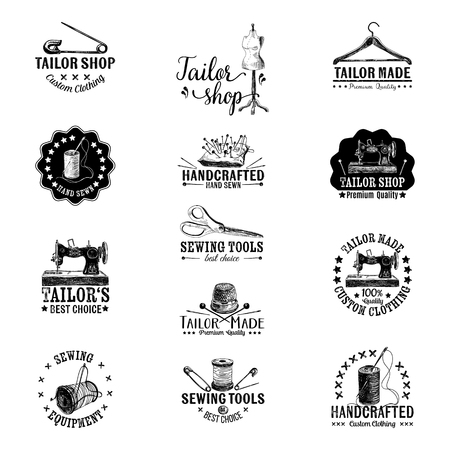 sew: Vector set of vintage tailor labels, badges and hand drawn design elements. Illustration