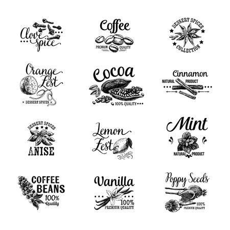coffee beans: Vector tập các biểu tượng tráng miệng Các loại gia vị, nhãn, phù hiệu và các yếu tố thiết kế. minh họa Retro.Vintage.
