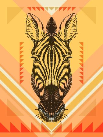 cabeza: Ilustración del vector con la cabeza de cebra. Dibujado a mano boceto.