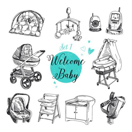 sonaja: Vector conjunto de cosas muy detallada bebé dibujado a mano. Colección de las señales de la vendimia.