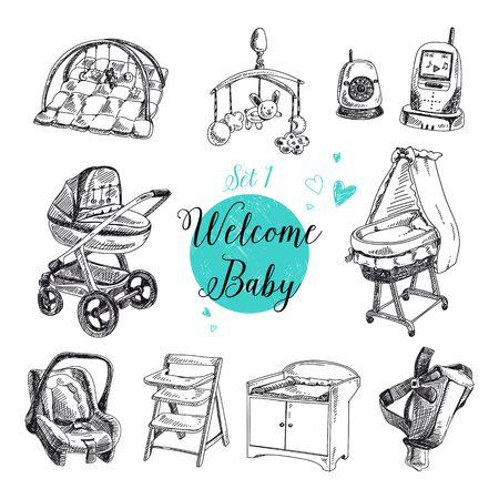 baby chair: Vector set of highly detailed hand drawn baby stuff. Vintage signs collection. Illustration