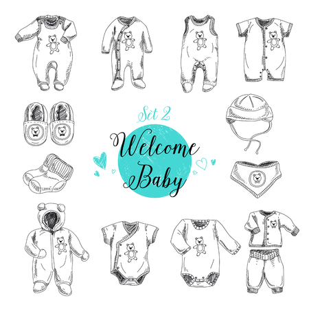 baby clothing: Vector set of highly detailed hand drawn baby stuff. Vintage signs collection. Illustration