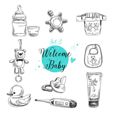 baby bottle: Vector set of highly detailed hand drawn baby stuff. Vintage signs collection. Illustration