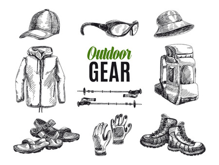 hiking boots: Vector set of highly detailed hand drawn camping stuff. Vintage signs collection.