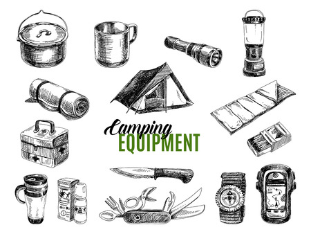 first aid kit: Vector set of highly detailed hand drawn camping stuff. Vintage signs collection.